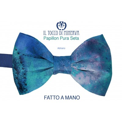 Handmade bow tie in pure multicolored blue silk with Adriano high fashion fabrics - Handmade