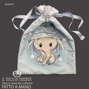 First Change Baby Bag in Cotton Elephant 50x35 - Handmade