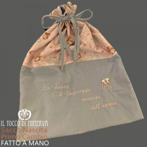 First Change Baby Bag in Cotton Ballerina 50x45 - Handmade