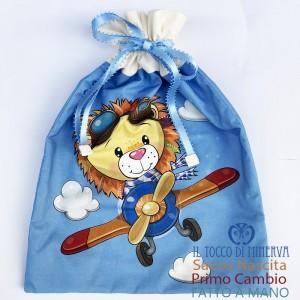 First Change Baby Bag in Cotton Lion Aviator 50x35 - Handmade
