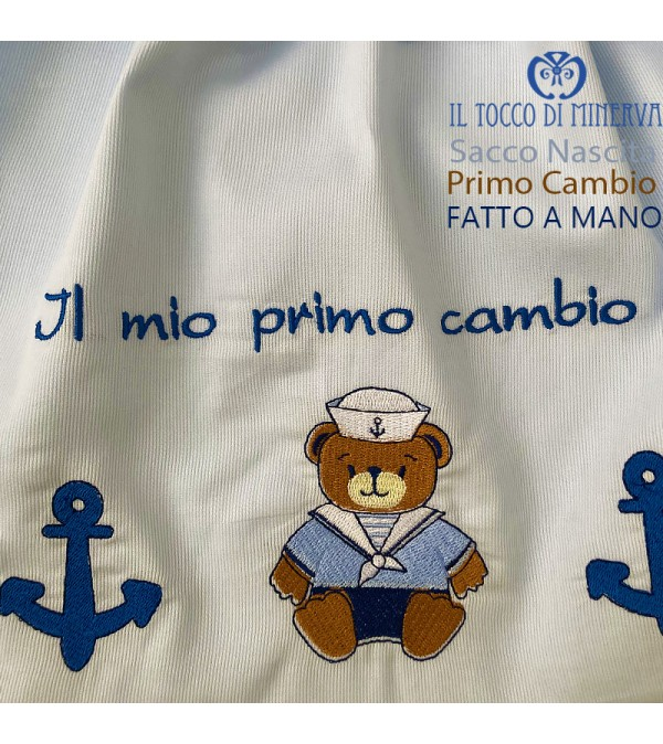 First Change Newborn Cotton Baby Bag with Sailor Bear 50x35 - Handmade