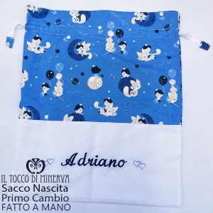 First Cotton Baby Bag The Little Prince 50x45 name - Handmade