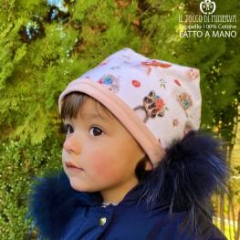Reversible hat for girl 100% cotton Romantic - Handmade