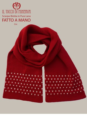 Red zoe pure wool baby scarf - Handmade