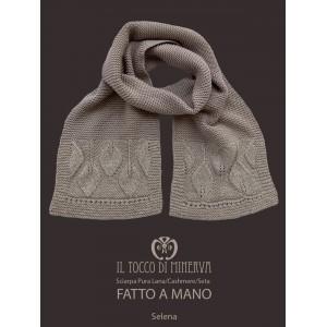 Selena pure wool cashmere and silk turtledove scarf - Handmade