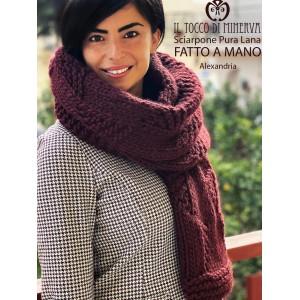 Alexandria burgundy pure wool scarf - Handmade