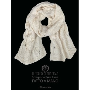 Alexandria cream pure wool scarf - Handmade