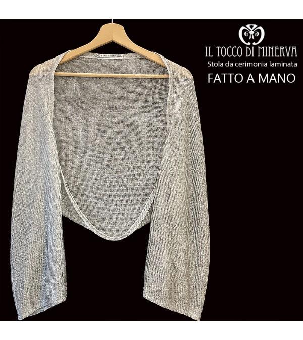 Gray laminated fabric stole - Handmade