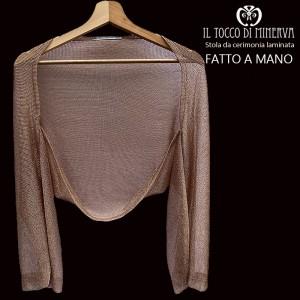 Pink laminated fabric shrug stole - Handmade