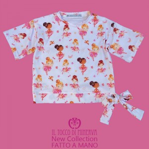 T-shirt made to measure in certified cotton for girls dancers - Handmade