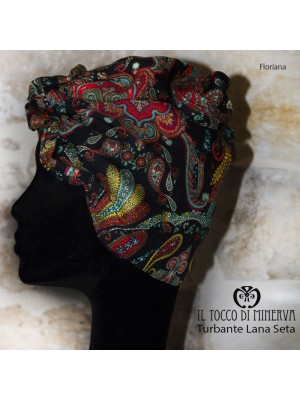 Multicolor Silk Wool and Turban Handmade