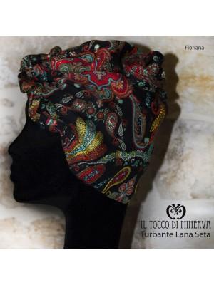 Multicolor Silk Wool and Turban Handmade