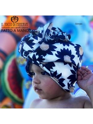 Hair Turban Flowered Cotton Giorgia Handmade