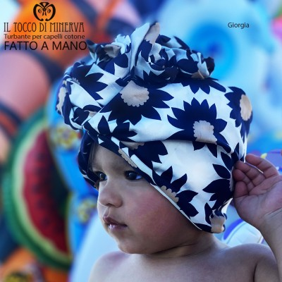 Hair Turban Flowered Cotton Giorgia Handmade