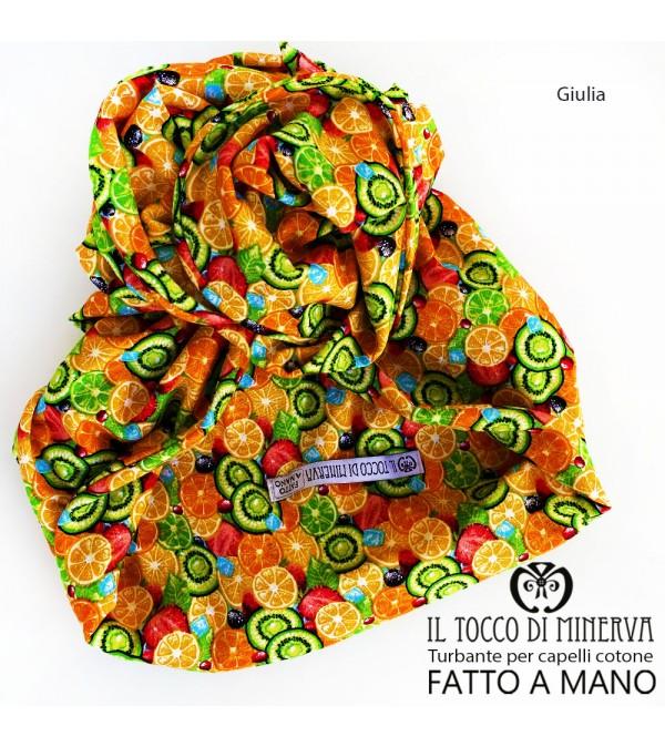 Turban for hair Orange cotton Giulia Handmade