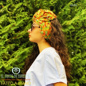 Turban for hair Orange cotton Giulia Handmade