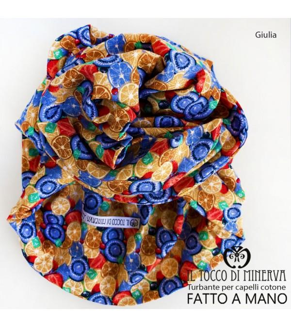 Turban for hair Beige cotton Giulia Handmade