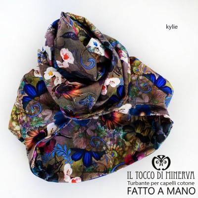 Hair Turban Flowered Cotton Kylie Handmade