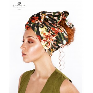 Hair turban Camouflage flowered cotton Sharon Handmade