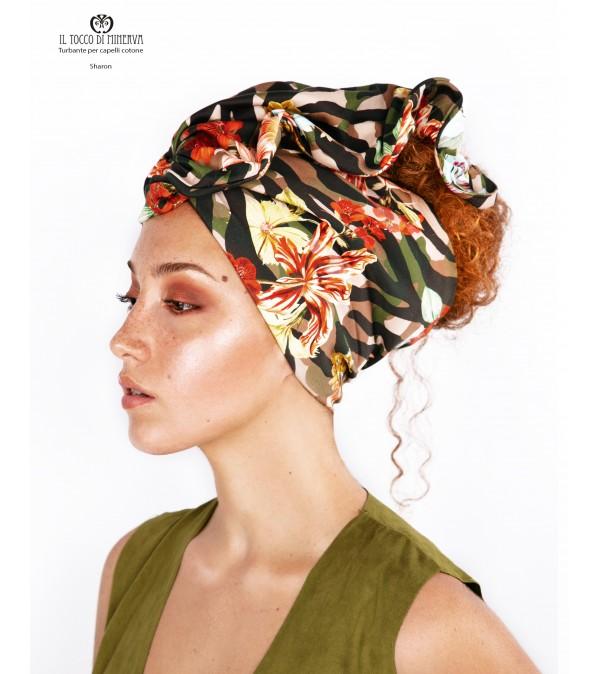 Hair turban Camouflage flowered cotton Sharon Handmade
