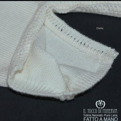Newborn Baby Onesie Cream Red Pure Wool Diletta Handmade